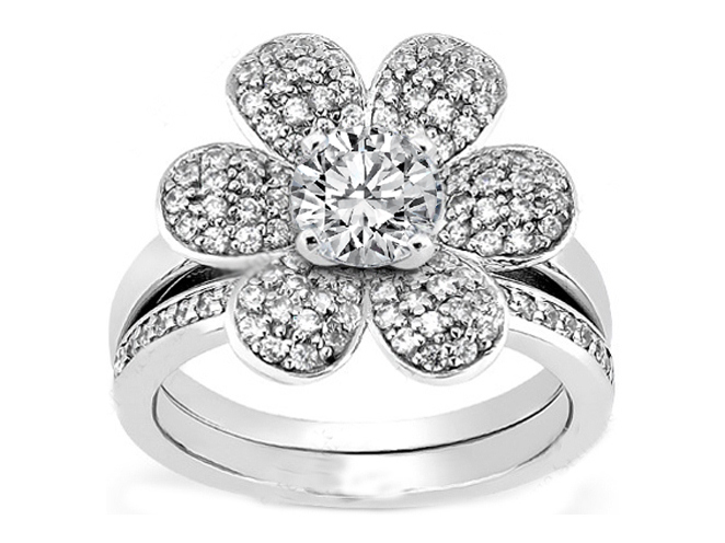 Flower Corolla Petals Engagement Ring & Matching Wedding Band in White Gold