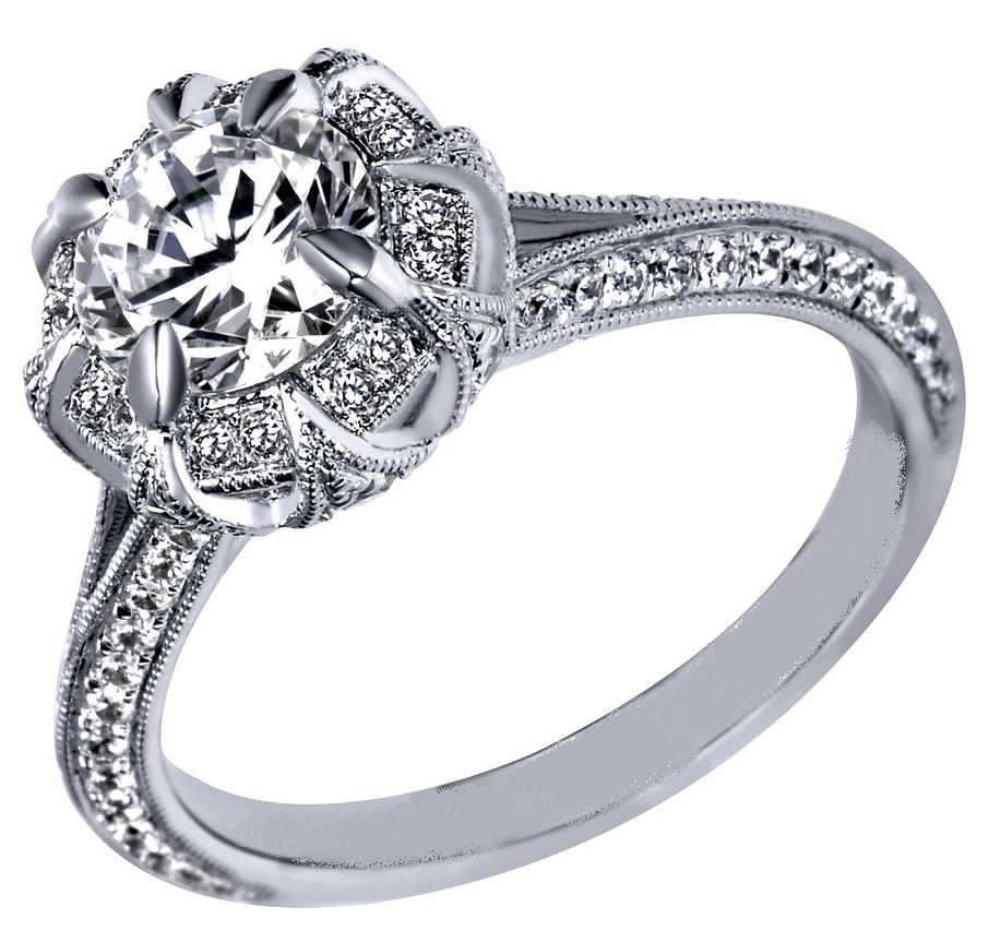 Engagement Ring Victorian Halo Engagement Ring in 14K White Gold ES1077