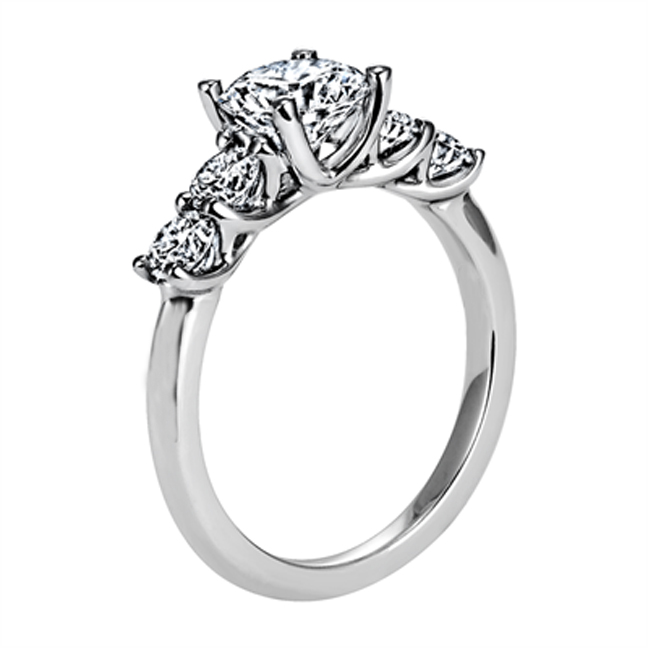five engagement trellis stone diamond ring angle rings
