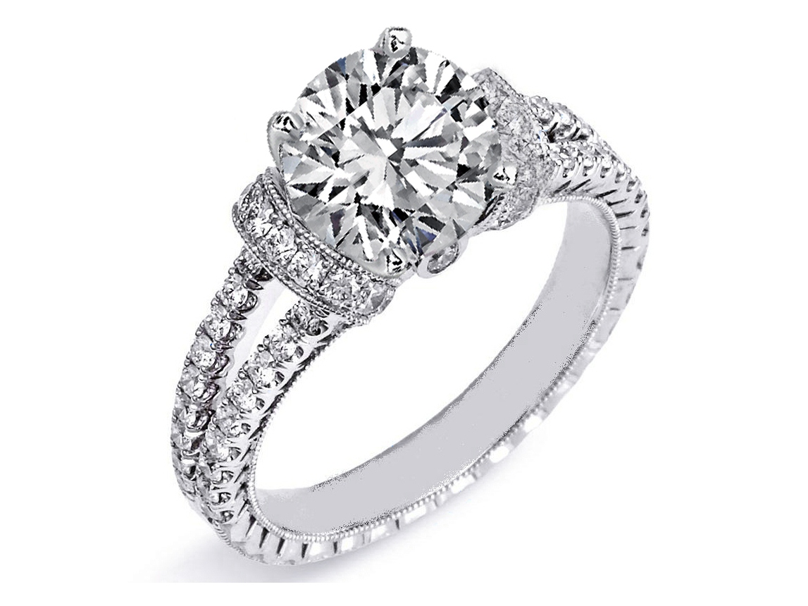 diamond huggies double pave band engagement ring in 14k white gold - Double Band Wedding Ring