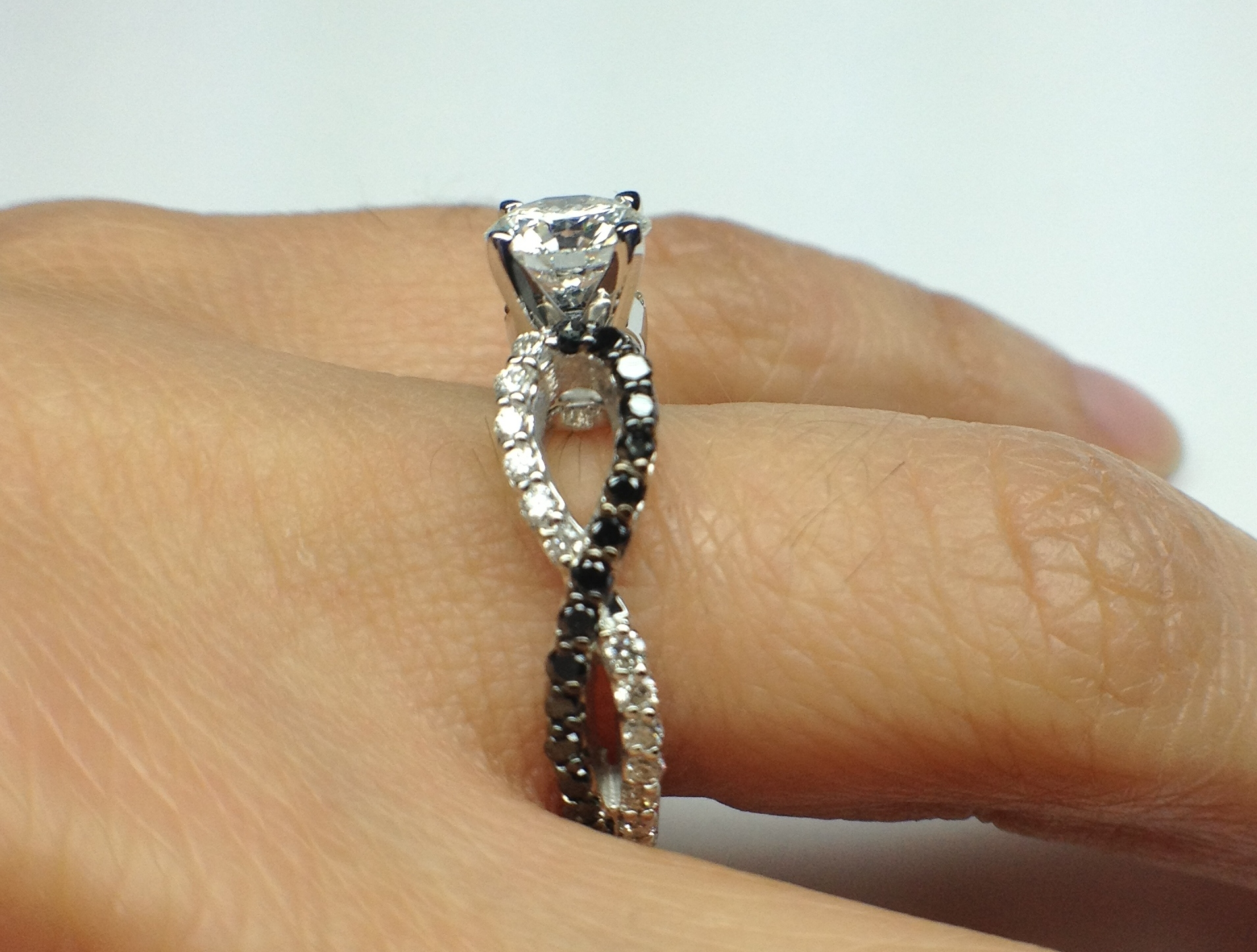 Black & White Infinity Diamond Engagement Ring in White Gold