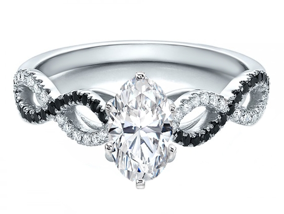 Oval Diamond Black & White Infinity Engagement Ring in White Gold