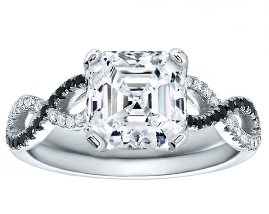 Asscher Cut Diamond Cut Black & White Infinity Engagement Ring in 14K White Gold