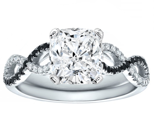 Cushion Cut Diamond Black White Infinity Engagement Ring In 14K Gold