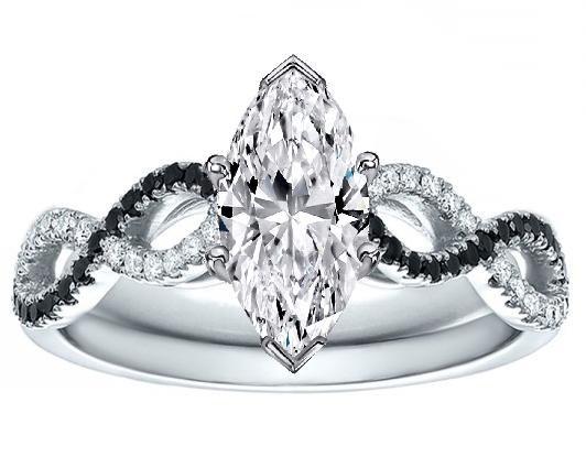 Marquise Cut Diamond Black & White Infinity Engagement Ring in White Gold