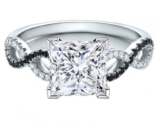 Princess Cut Diamond Black & White Infinity Engagement Ring in White Gold