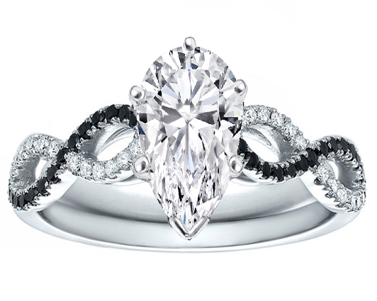 Pear Cut Diamond Cut Black & White Infinity Engagement Ring in White Gold