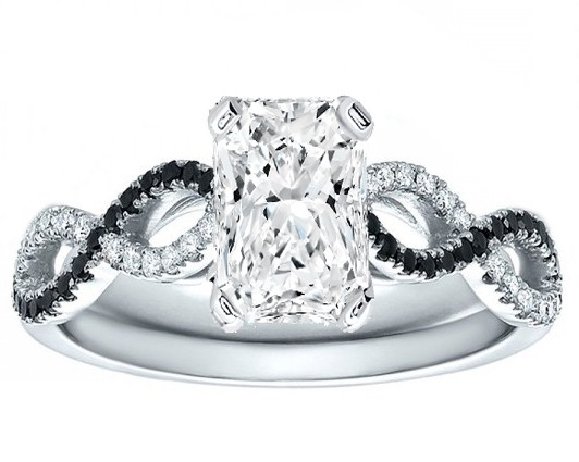 Radiant Cut Diamond Cut Black & White Infinity Engagement Ring in White Gold