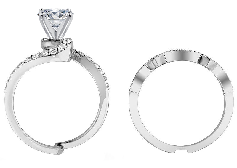 Swirl Interlocking bridal set 0.56 TCW in 14K White Gold