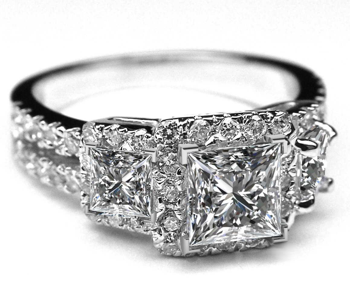 Three Stone Princess Diamond Halo Split Band Engagement Ring in 14K White Gold