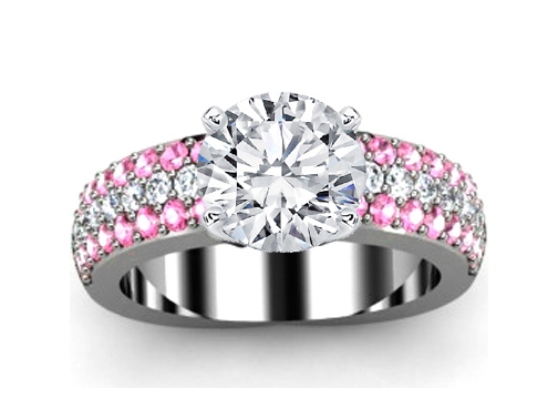 Trio Pave Pink sapphire & Diamonds Engagement Ring in 14K White Gold