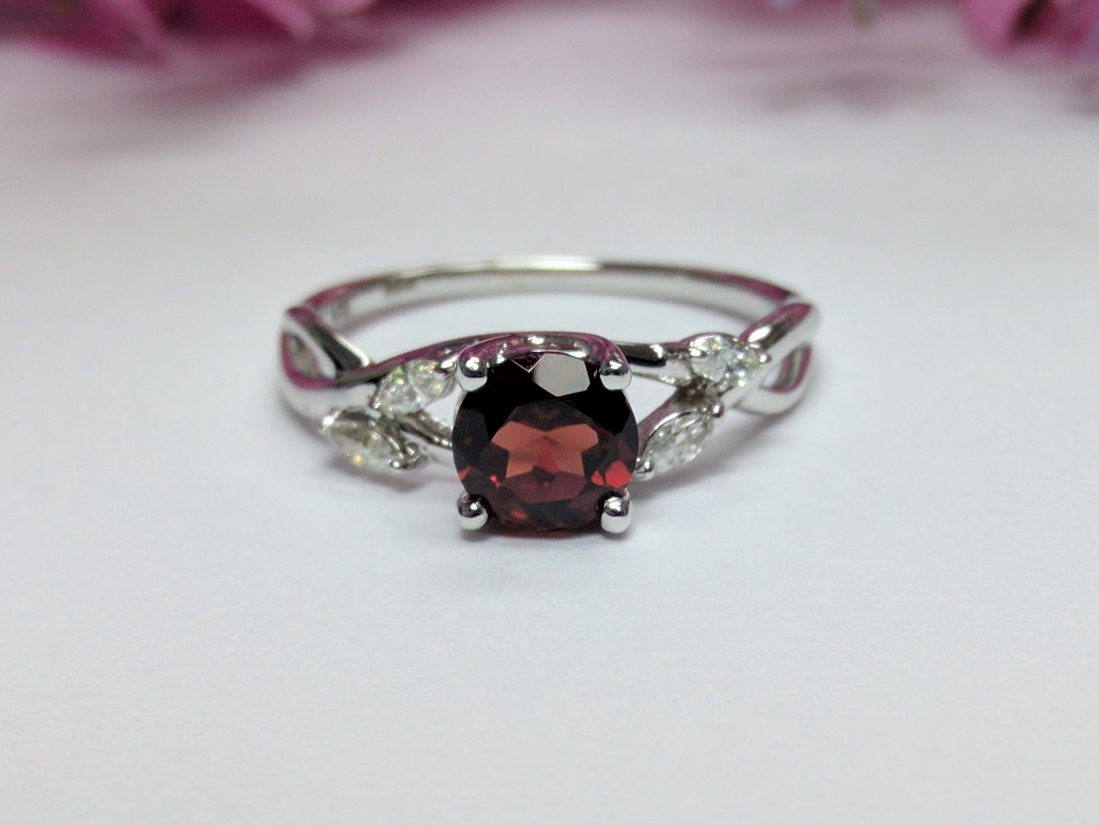 Garnet - Diamond Engagement Ring Marquise Floral Vine