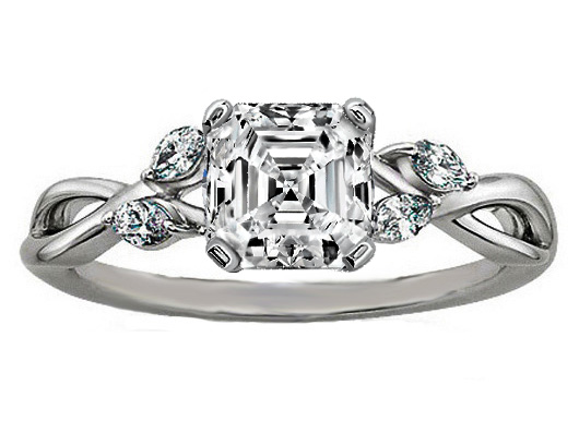 Asscher Diamond Engagement Ring Floral Marquise Vine in 14K White Gold