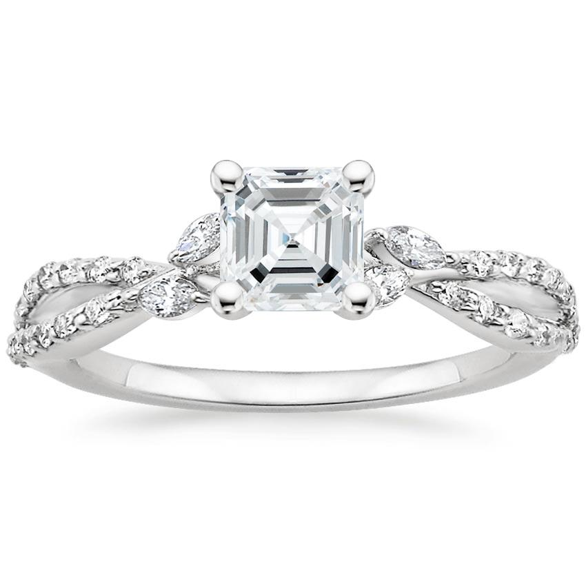 Asscher Diamond Engagement Ring Marquise Floral Vine