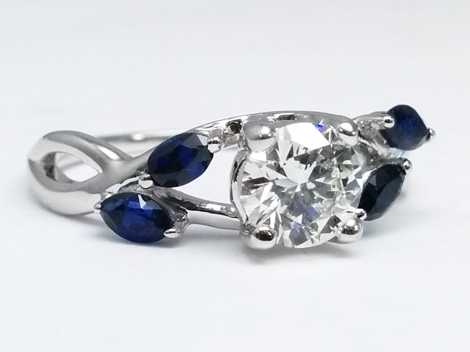Blue Sapphire Vine Floral Marquise Engagement Ring