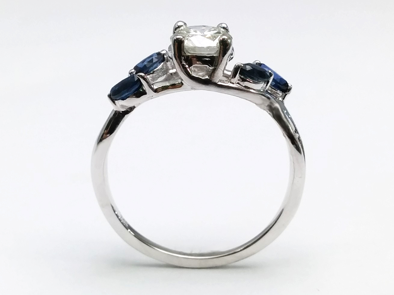 Blue Sapphire Vine Floral Marquise Engagement Ring in 14k White Gold
