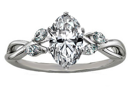 Oval Diamond Engagement Ring Floral Marquise Vine in 14K White Gold