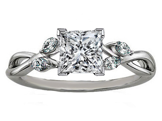 Princess Diamond Engagement Ring Floral Marquise Vine in 14K White Gold