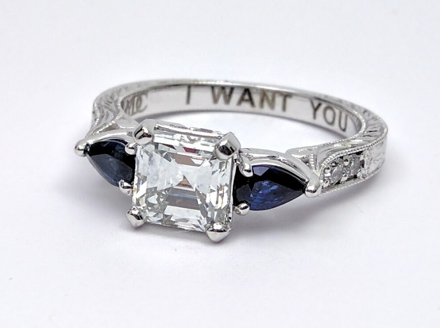 Asscher Cut Diamond Engagement Ring Blue Sapphire Pear side stones Hand engraved White Gold band