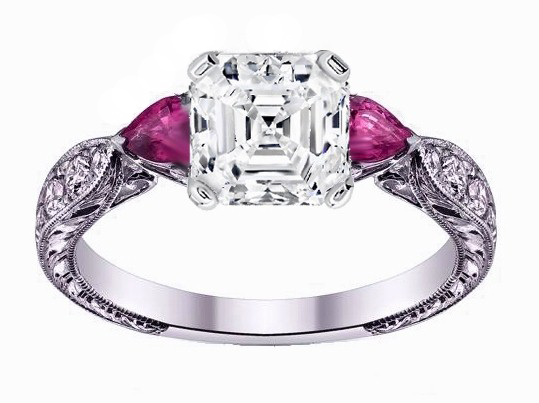 Asscher Diamond Engagement Ring Pink Sapphire Pear side stones Hand Engraved White Gold band