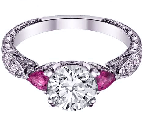 Diamond Engagement Ring Pink Sapphire Pear side stones Hand Engraved White  Gold band ...