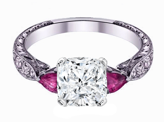 Cushion Cut Diamond Engagement Ring Pink Sapphire Pear side stones Hand engraved White Gold band