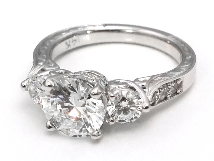 Three Stone Diamond Engagement Ring Hand engraved White Gold band