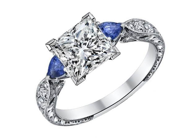Princess Diamond Engagement Ring Blue Sapphire Pear side stones Hand engraved White Gold band