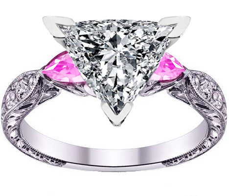 Trillion Cut Diamond Engagement Ring Pink Sapphire Pear side stones Hand Engraved White Gold band