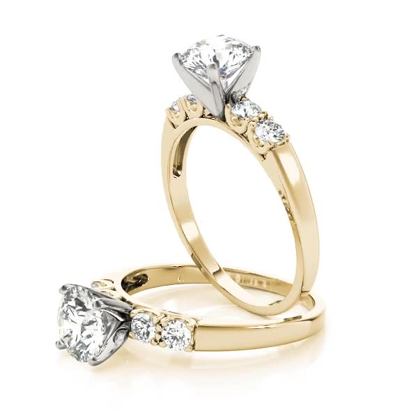 Petite U Prong Diamond Engagement Ring Yellow Gold