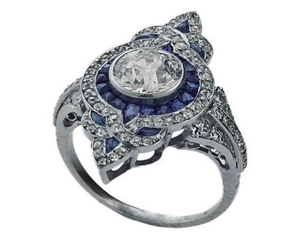 Fleur-De-Lis Diamond Art Deco Engagement Ring