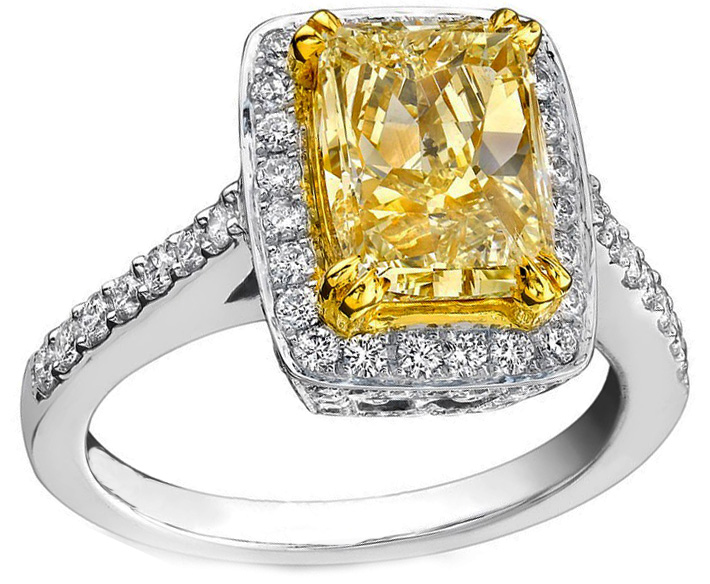 Fancy Yellow Long Cushion Diamond Cathedral Engagement Ring