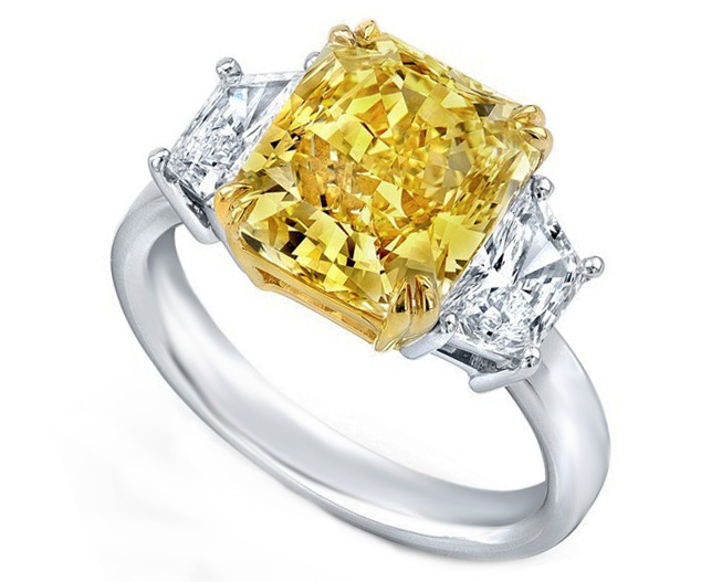 Fancy Yellow Radiant Diamond Ring Trapezoids Side stones 1.05 Carat Total Weight