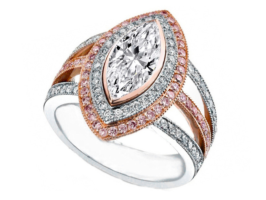 Marquise Diamond Engagement Ring Pink Diamonds Halo Trio Band