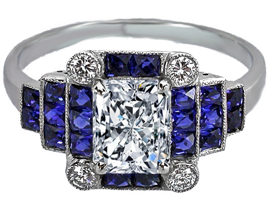 Radiant Diamond Art Deco Step Up Engagement Ring Blue Sapphires Accents
