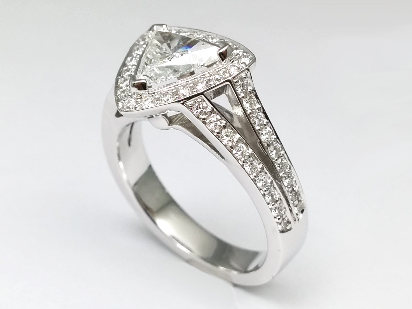 Trillion Diamond Halo  Pave Split Band Bridal Set in 14k White Gold