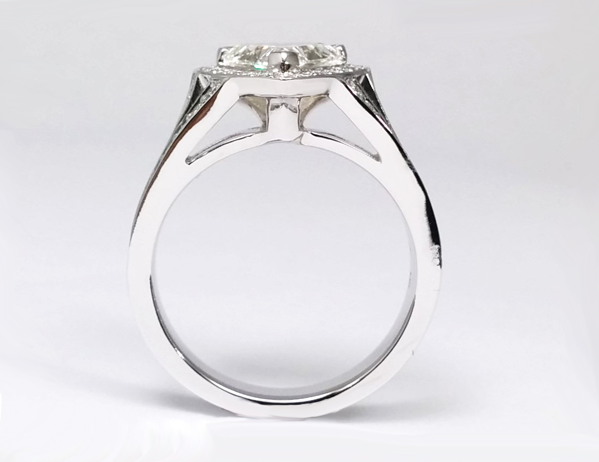Trillion Diamond Halo Engagement Ring  Pave Split Band in 14k White Gold