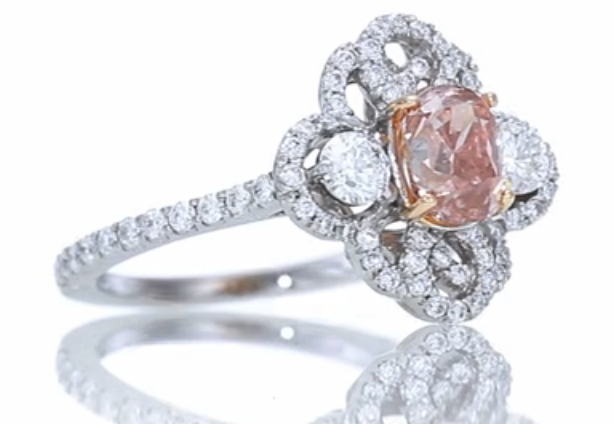 Fancy Pink Diamond Cushion Cut Engagement Ring