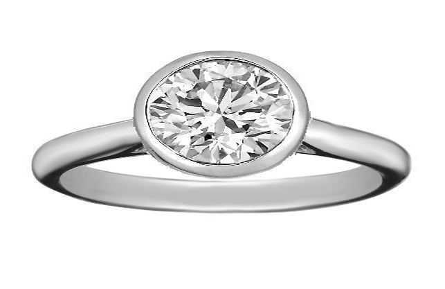 Oval Diamond Horizontal Bezel Solitaire Engagement Ring in 14K White Gold