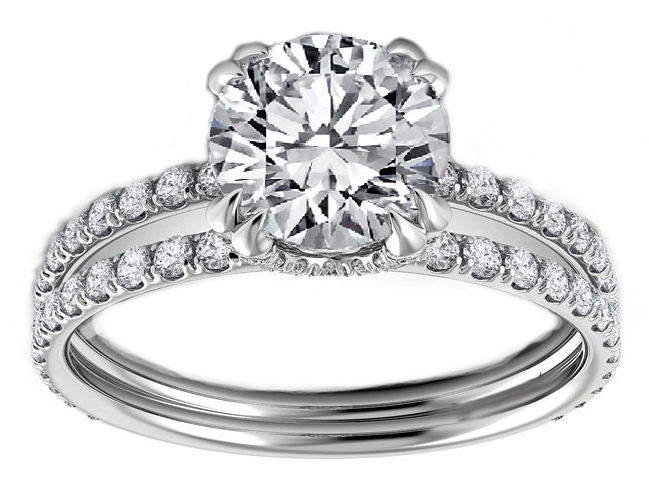 Pave Prongs Double Band Diamond Engagement Ring in 14K White Gold