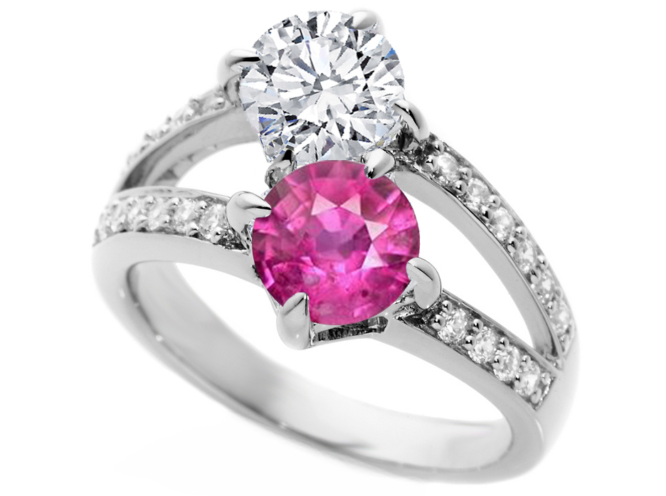 Toi et Moi Diamond & Pink Sapphire Engagement Ring