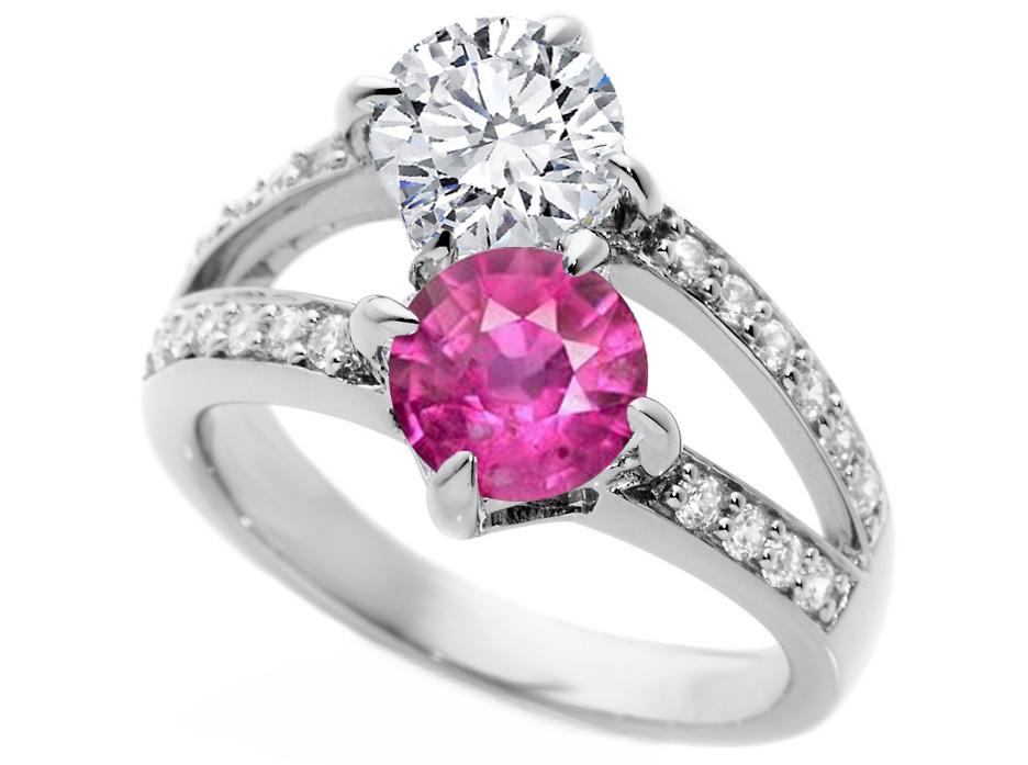 toi et moi diamond pink sapphire engagement ring in 14k white gold - Pink Diamond Wedding Rings