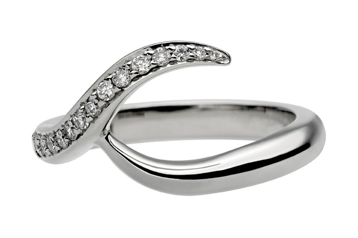 Entwined Bridal Set: Engagement Ring & Matching Wedding Ring in White Gold