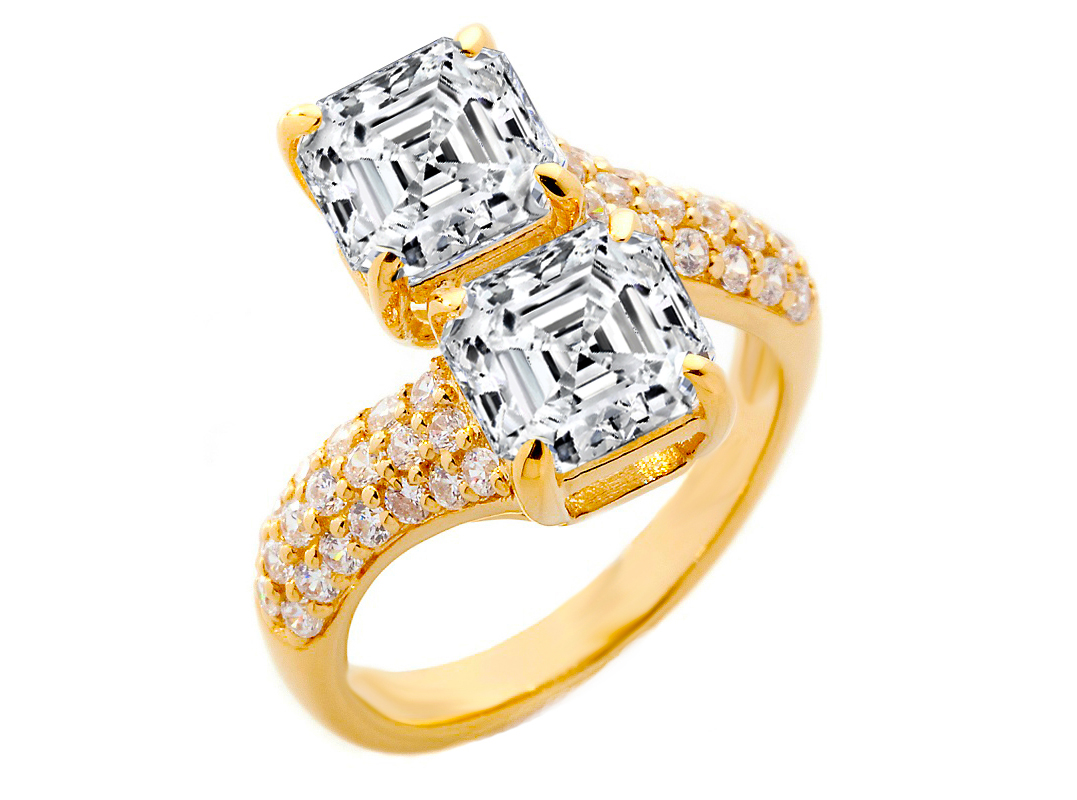 Toi et Moi Asscher Diamond Pave Engagement Ring in 14K Yellow Gold