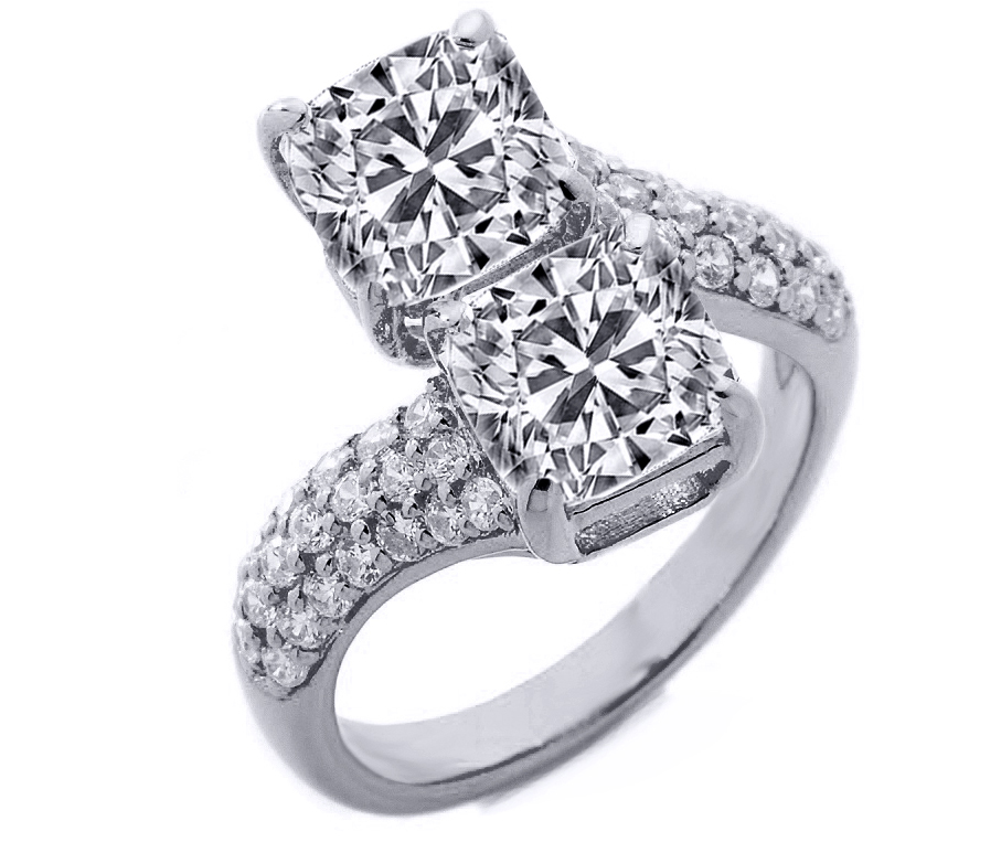 Toi et Moi Cushion Diamond Pave Engagement Ring