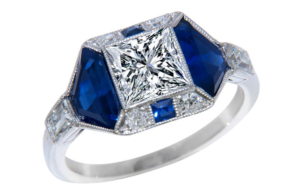 Princess Cut Diamond Art Deco Engagement Ring in 14K White Gold