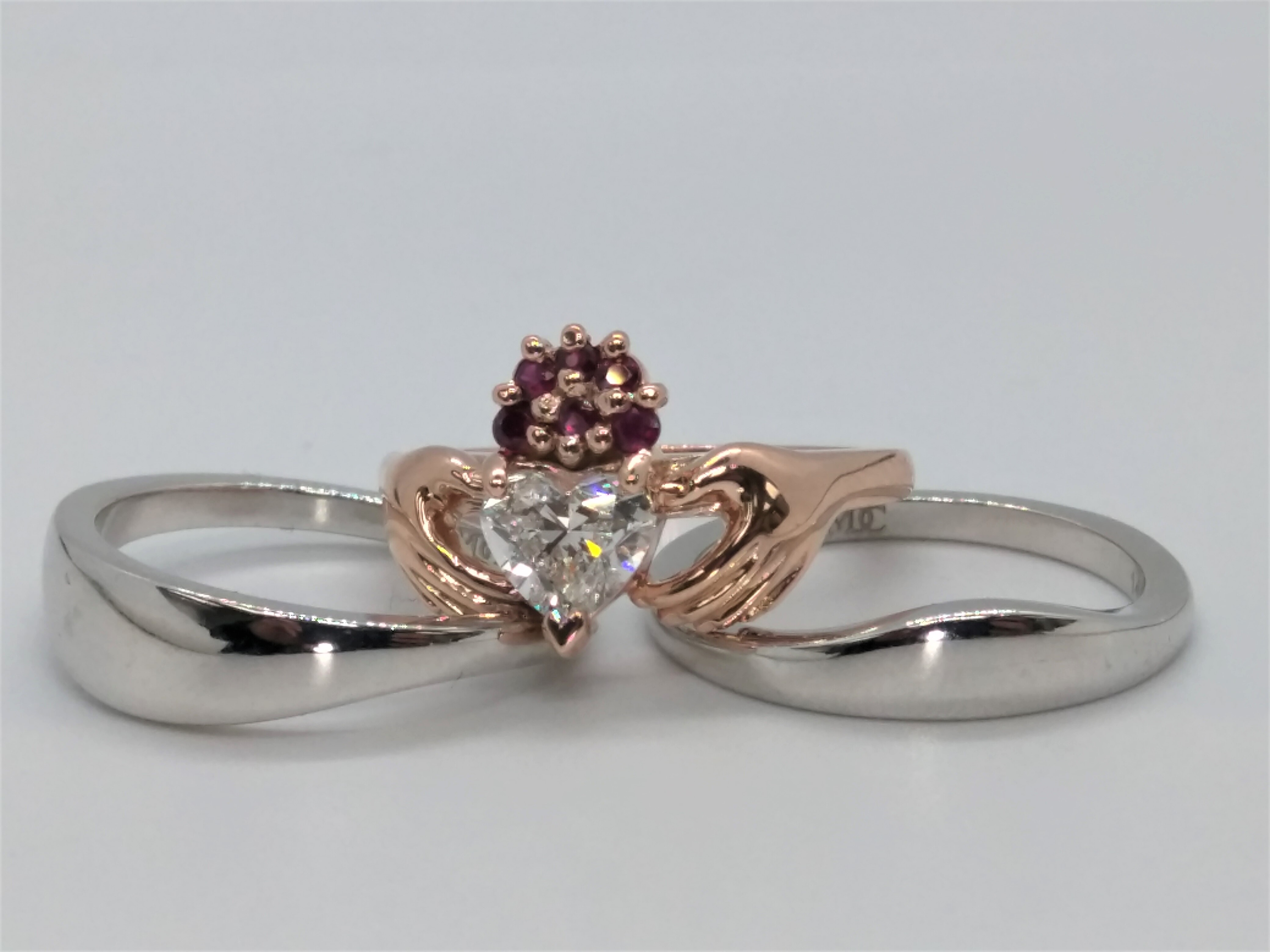 Claddagh Rose Gold Heart Diamond Ruby Bridal Set