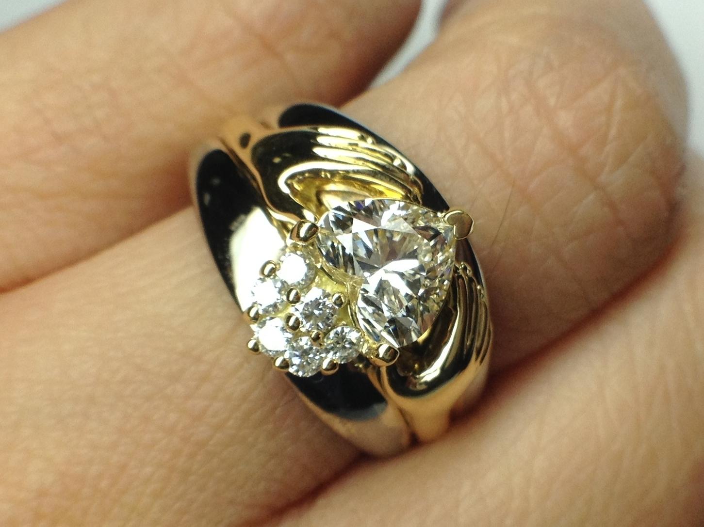Claddagh Twotone Heart Diamond Engagement Ring Bridal Set