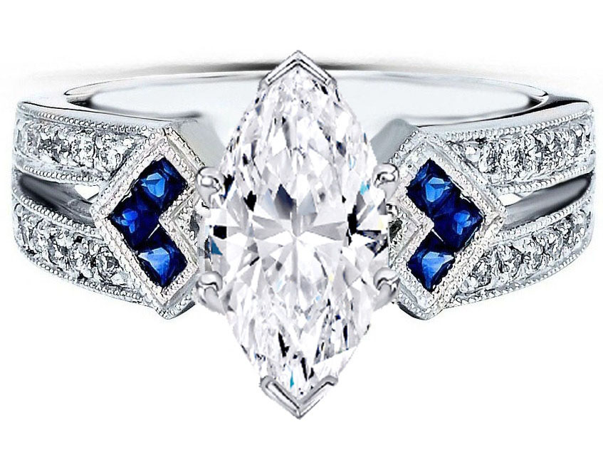 Marquise Diamond Engagement Ring Trio Blue Sapphire double Diamond band
