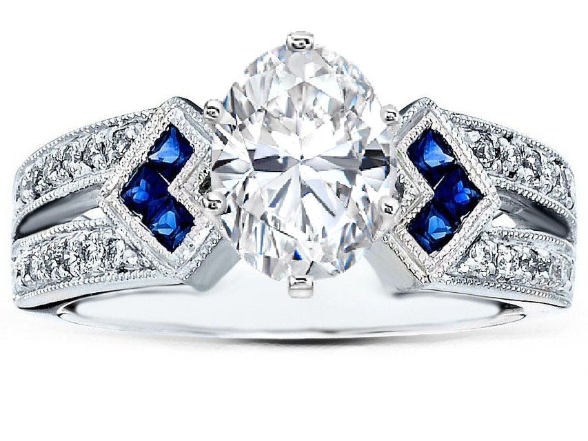 Engagement Ring Oval Diamond Engagement Ring Trio Blue Sapphire
